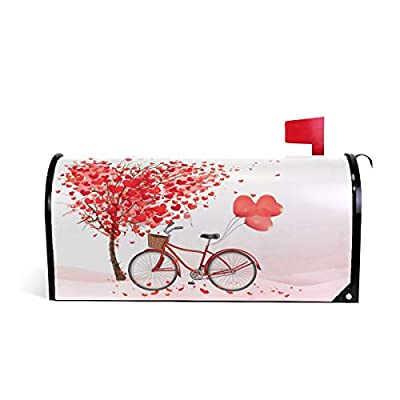 """WOOR Valentines Day Happy Sun Emoji Red Love Heart Bicycle Valentine's Magnetic Mailbox Cover Oversized-25.5"""" x20.8"""