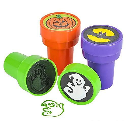 Halloween Stampers - Pack of 24 Pre-Inked Stamping Tool for Kids - Assorted Spooky Design Prints (Pumpkin, Bat, Ghost)- Perfect for Letters, Scrapbooks, DIY Activities, Decorations and Party -