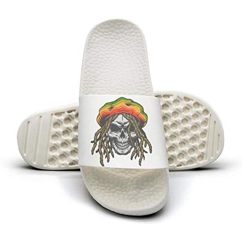 Migny Hills Women's Cannabis Strain Colorful Rastaman Skull Slippers Non-Slip Open Toe Shower Sandals Indoor Outdoor Soft Sandals
