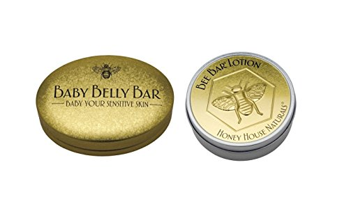 Honey House Naturals Baby Belly Bar and Vanilla Bee Bar Moisturing Solid Lotion Gift Set Bundle (Belly Honey House)