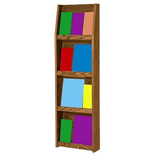 Wooden Mallet Slope 12-Pocket Literature Display, Medium - Literature Display Oak Stand