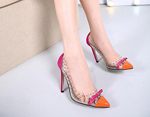 Scarpe Sandali Lo Alto con Tacco per Estivo Womens a Punta Punta Shopping Sandals Rivetti Arancione Lucidi Archi a DANDANJIE x8BXnOO