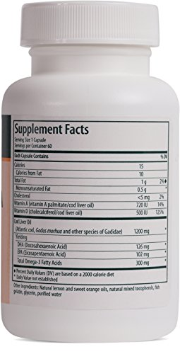 Genestra Brands - Cod Liver Oil DHA/EPA Forte Capsules - Blend of DHA, EPA, and Vitamins A and D - 60 Softgel Capsules by Genestra Brands (Image #1)'