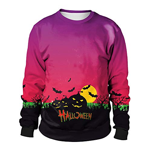 Hoodie Men Zipper,Women's Plus Activewear,Women Halloween Pumpkins 3D Printing Long Sleeve Hoodie Sweatshirt Pullover Top,Purple,L