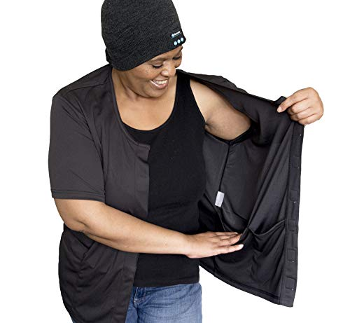 Post Operative Recovery - Breast Cancer Shirt Mastectomy Clothing with Drain Pockets Soft As Feathers Black Large