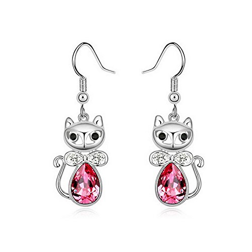 Alvdis Premium Princess Cat Shaped Pink Crystal Earrings - Genuine Swarovski Crystal Elements Pendant