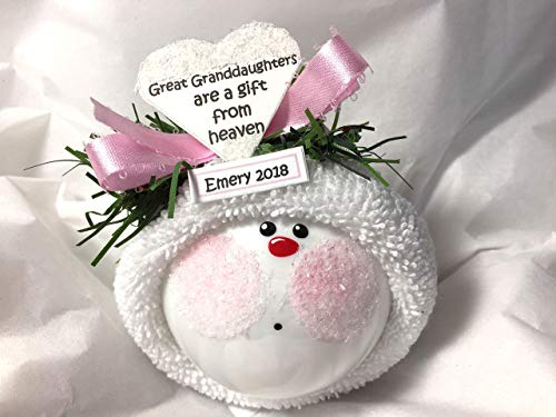 Great Granddaughter Gift Christmas Ornament A Gift From Heaven Personalized Tag Hand Painted and Themed by Townsend Custom Gifts CA31