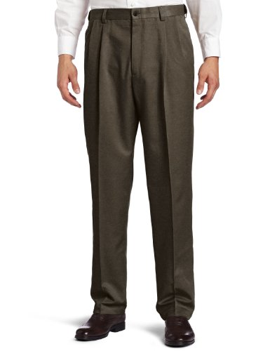 (Haggar Men's Cool 18 Heather Solid Pant - Regular - 40W x 34L - Heather Brown)