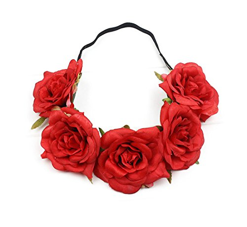 Fall Rose (Floral Fall Elastic Coffee Big Rose Flower Headband Hair Wreath Halo Crown F-37 (Red))