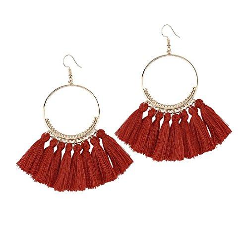 Molyveva Tassel Chandelier Drop Earrings Fan Shape Dangle Stud Earrings for Women Bohemia Ethnic Eardrop (Wine)