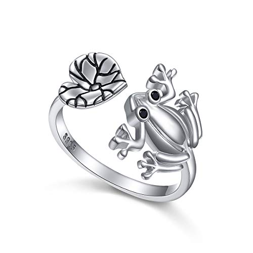 Ring Sterling Silver Frog - ALPHM Frog Ring for Women S925 Sterling Silver Adjustable Wrap Open Spoon Lotus Leaf Heart Rings