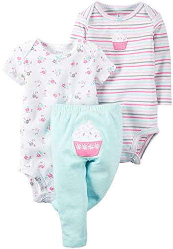 Carter's Baby Girls' 3 Piece Back Art, Pink, Newborn (Girl Cupcake Carters Newborn)