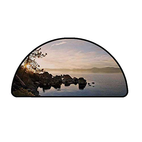 - Lake Comfortable Semicircle Mat,Lake Tahoe at Sunset with Clear Sky and Single Pine Tree Rest Peaceful Weekend Photo for Living Room,15.7