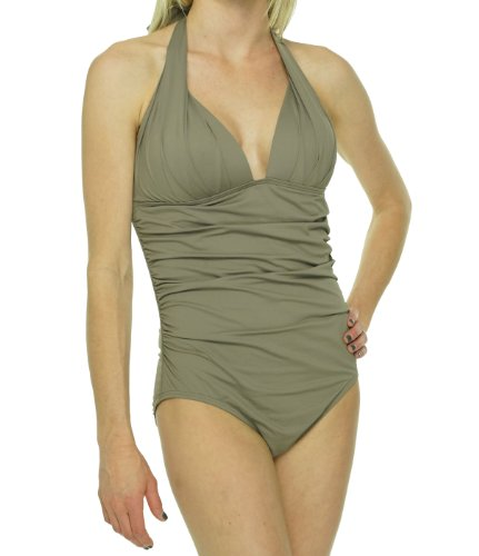 DKNY Women's Shirred Halter Swimsuit Flax 14