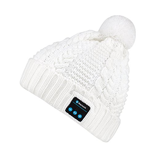 Bluetooth Beanie Hat blueear Women Knit Music Caps Hands Free Phone Talking for Winter Outdoor Sports and Workout (White)