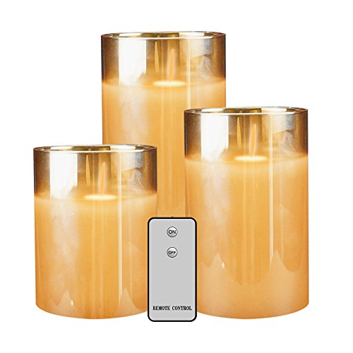 (Flameless Led Candles Flickering, YINUO Candle Real Wax Fake Wick Moving Flame Faux Wickless Pillar Battery Operated Candles with Timer Remote Glass Effect)