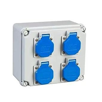IDE 40427 Caja Estanca de Derivación con Bases Montadas y Cableadas, Laterales Lisos, 4x(IP44 2P+TT 16A 220V), Gris, 175mm x 151mm x 95mm: Amazon.es: Industria, empresas y ciencia