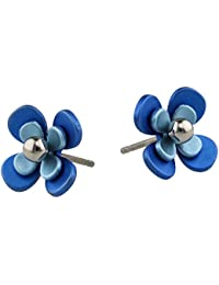 Ti2 Titanium Double Four Petal Bead Flower Stud Earrings - Brown