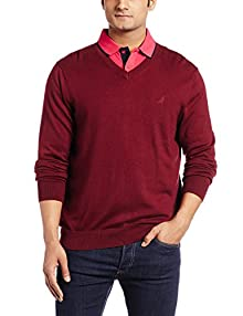 Nautica Men\u0027s Cotton Sweater (8907259519890_NTS536036WW_Large_Windsor Wine)  Image