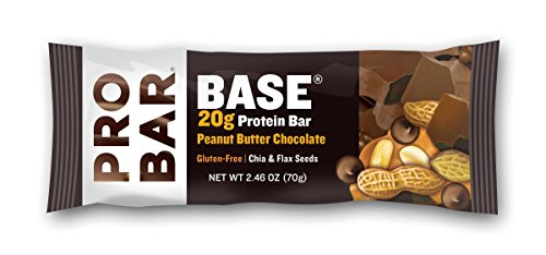 PROBAR - BASE 2.46 Oz Protein Bar, Peanut Butter Chocolate, 12 Count - Organic, Gluten-Free, Plant-Based Whole Food Ingredients