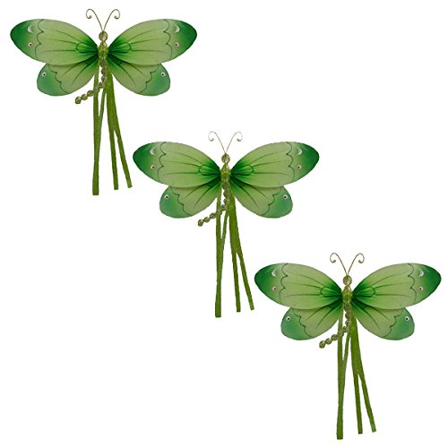 Riley Dragonfly Decoration -green-small/7''x4'' 3D Hanging Mesh Nylon Decor for Baby Nursery Room, Girls Bedroom, Wall, Ceiling, Wedding, Birthday party - set of 3 by The Butterfly Grove