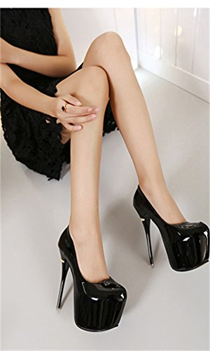forme peu en bouche Plate verni Chaussures Nightclub talon cuir Noir chaussures femmes à profonde Xianshu imperméable ExFaqq