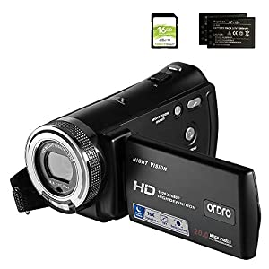 Flashandfocus.com 41QGNAzSy5L._SS300_ Camcorders ORDRO HDV-V12 HD 1080P Video Camera Recorder Infrared Night Vision Camera Camcorders with 16G SD Card and 2…