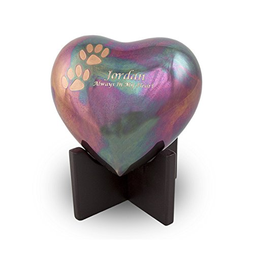OneWorld Memorials Arielle Raku Finish with Paw Prints Bronze Heart Pet Urn - Small - Holds Up to 20 Cubic Inches of Ashes - Raku Blue Pet Cremation Urn for Ashes - Engraving Sold Separately
