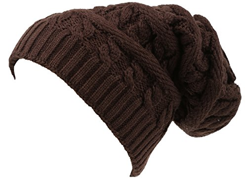 Sakkas 16149 - Figaro Long Tall Classic Cable Knit Faux Fur Lined Unisex Beanie Hat - Brown - OS from Sakkas