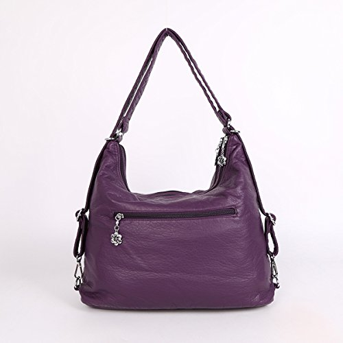 Purses W6802 Angelkiss Washed Top Shoulder Leather Backpack Handbags Bags Pockets Multi Zippers Purple2 2 r8n7r4