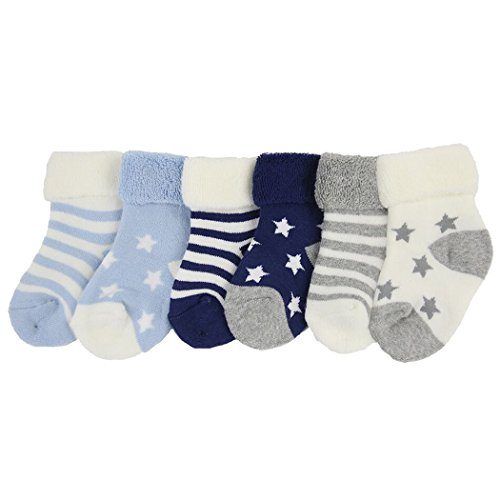 YULI Baby Boys Girls Newborn Toddler Blue Grey White Terry Heathered Striped Ribbed Star Angel Dear Mid Cuff Dress Socks 6 Pack