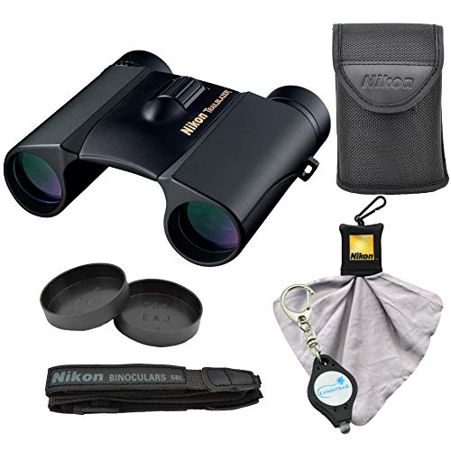 Nikon Trailblazer 8x25 ATB Binoculars, Waterproof (8217), Black Bundle with Nikon Microfiber Cleaning Cloth and Lumintrail Keychain Light