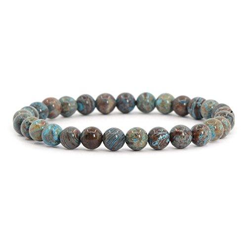 Wood 6mm Round Beads - Dyed Blue Wood Veins Jasper Gemstone 6mm Round Beads Stretch Bracelet 6.5
