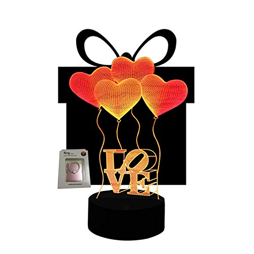 Valentine Day Gift I Love You Night Lights 3D Illusion Lamp Led Desk Table Unique Anniversary Gifts for Her Wife Home Decor Office Bedroom Wedding Party Decorations Nursery Lighting 7 Color Change