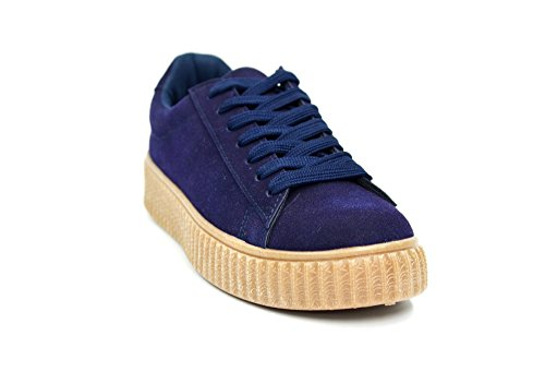 SHY35 * Baskets Basses Tennis Sneakers Tissu Effet Daim Uni avec Semelle Plateforme Compensée - Mode Femme (Bleu Marine)