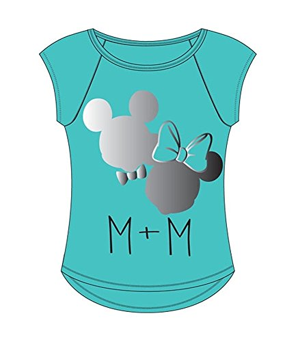 Disney Adult Womens Mickey Plus Minnie With Foil, Teal (Medium) (Disney Clothing For Adults)