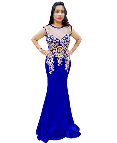 African Boutique Women's Rhinestone Long Zari Embroidery Formal Mermaid Evening Prom Dresses Royal -