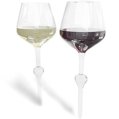 Wine Glasses Set of 2 - Unbreakable & Shatterproof Pointed Stem Acrylic Wine Glass Set, Outdoor Cocktail Drinkware for the Beach, Pool, Sand, or Camping - 16 oz, Crystal Clear