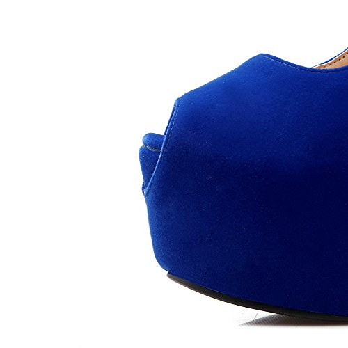 VogueZone009 Women's High-Heels Frosted Assorted Color Buckle Peep Toe Sandals Blue 0XT25Bb0k