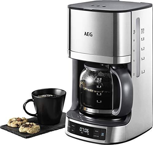 AEG KF7700 – Cafetera Programable 1,7 L, Auto apagado, 1100 W, 1,5 m, 12 tazas, Plateado, depósito del agua integrado