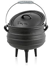 BBQ-Toro Potjie l Elección de Diferentes tamaños l Cacerola de Hierro Fundido l Horno holandés sudafricano (Potjie #3 Aprox. 8 litros)