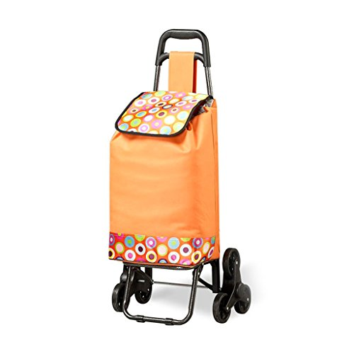 (RKY Trolley Three-wheeled Climbing Stairs Shopping Cart Folding Supermarket Car Portable Luggage Car Weight About 30 Kg 2 Colors Multi-function trolley (Color : Orange))