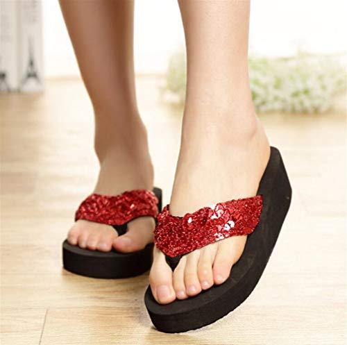 Znyo Chanclas de Mujer de Verano con Lentejuelas Gruesas Pantuflas Zapatillas de Playa Antideslizantes Zapatillas de pies Sandalias Antideslizantes (Rojo) Dark Red