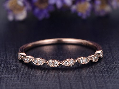 Antique Ring Eternity Diamond - Marquise Engagement Ring,Solid 14k Rose Gold,Half Eternity Diamond Wedding Band,Anniversary Ring,Stacking Band,Reco Antique