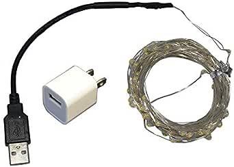 إضائة ال اي دي خارجية للديكور والحدائق تعمل يو اس بي أو كهرباء - 10 متر - اصفر