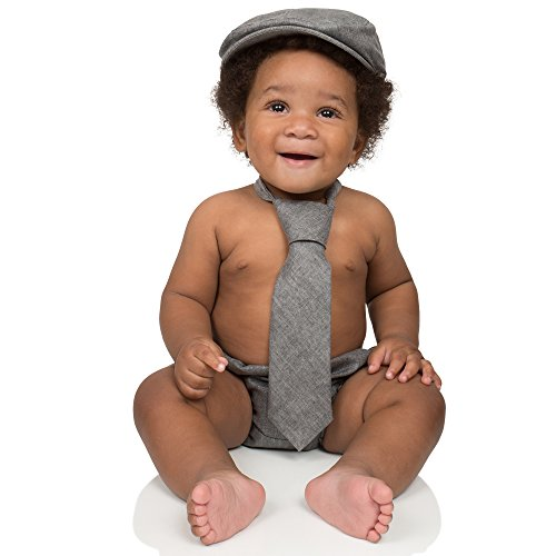 juDanzy baby boys gift box cabbie hat set (3-6 Months, Gray Chambray)