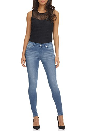 Rekucci Women's Ease In To Comfort Super Soft 5 Pocket Denim Skinny Leg (10,Light Wash Whiskers)