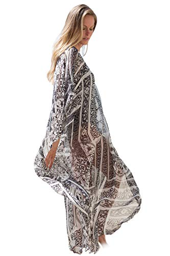 Women's Summer Kimono Print Cardigan Cover Up Bathing Suit Beach Swimsuit Maxi - Cover Up Tropical