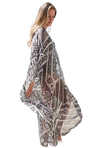 Women's Summer Kimono Print Cardigan Cover Up Bathing Suit Beach Swimsuit Maxi Dress