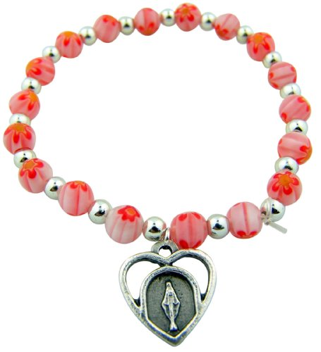 CB Womens Catholic Jewelry Gift Pink Flower Glass Marble Bead with Heart Shape Miraculous Charm Rosary 7 Inch Stretch Bracelet
